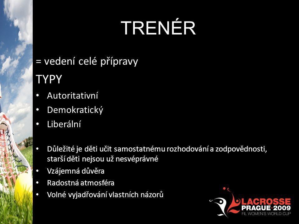 TRENÉR TYPY = vedení celé přípravy Autoritativní Demokratický