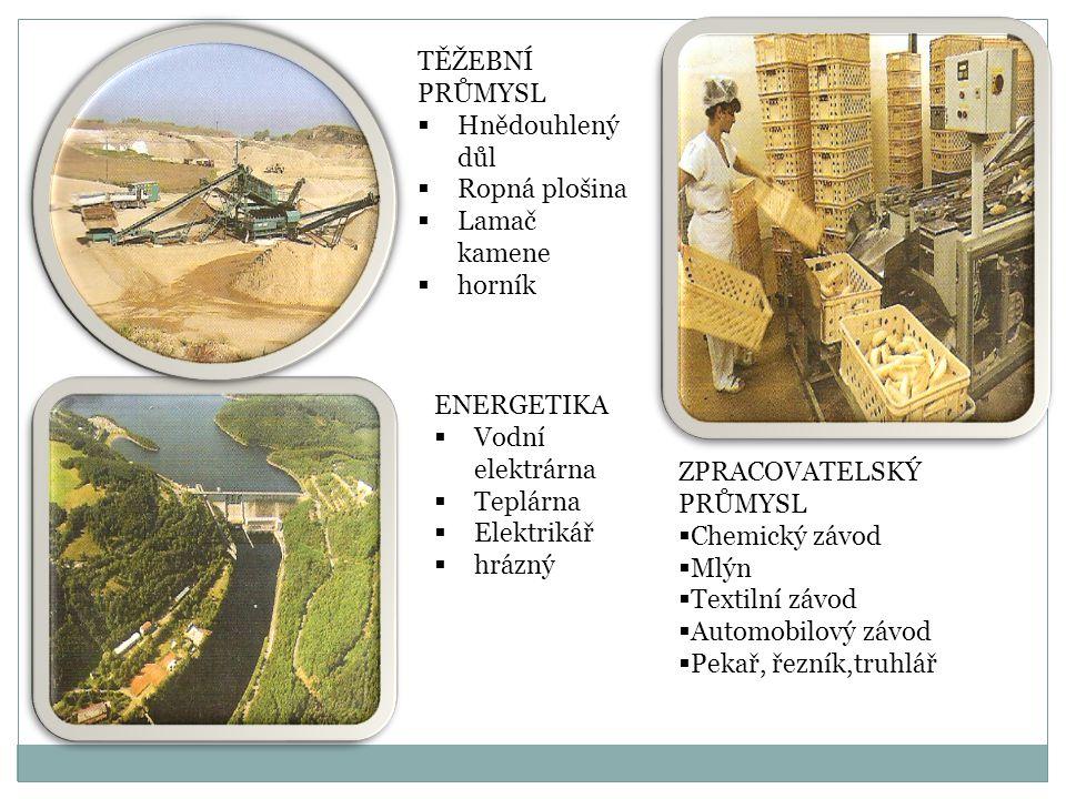 TĚŽEBNÍ PRŮMYSL Hnědouhlený důl. Ropná plošina. Lamač kamene. horník. ENERGETIKA. Vodní elektrárna.