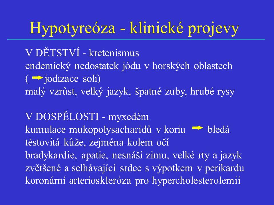 Hypotyreóza - klinické projevy
