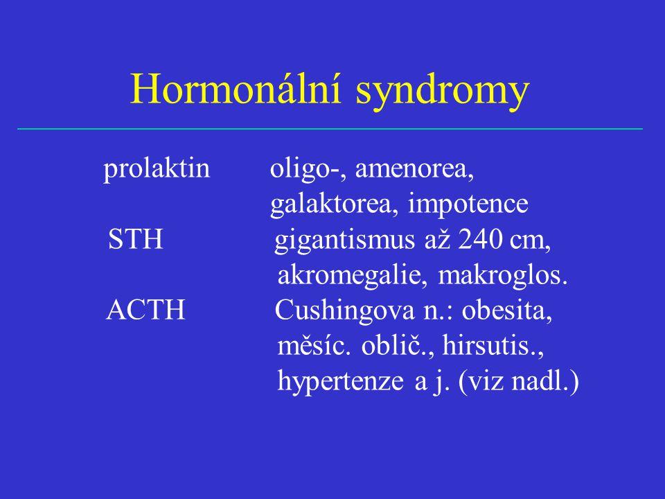 Hormonální syndromy prolaktin oligo-, amenorea, galaktorea, impotence. STH gigantismus až 240 cm,