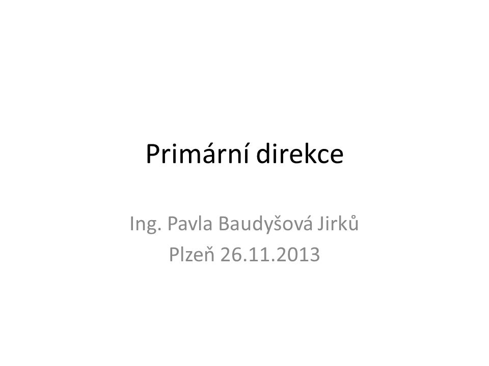 Ing. Pavla Baudyšová Jirků Plzeň 26.11.2013