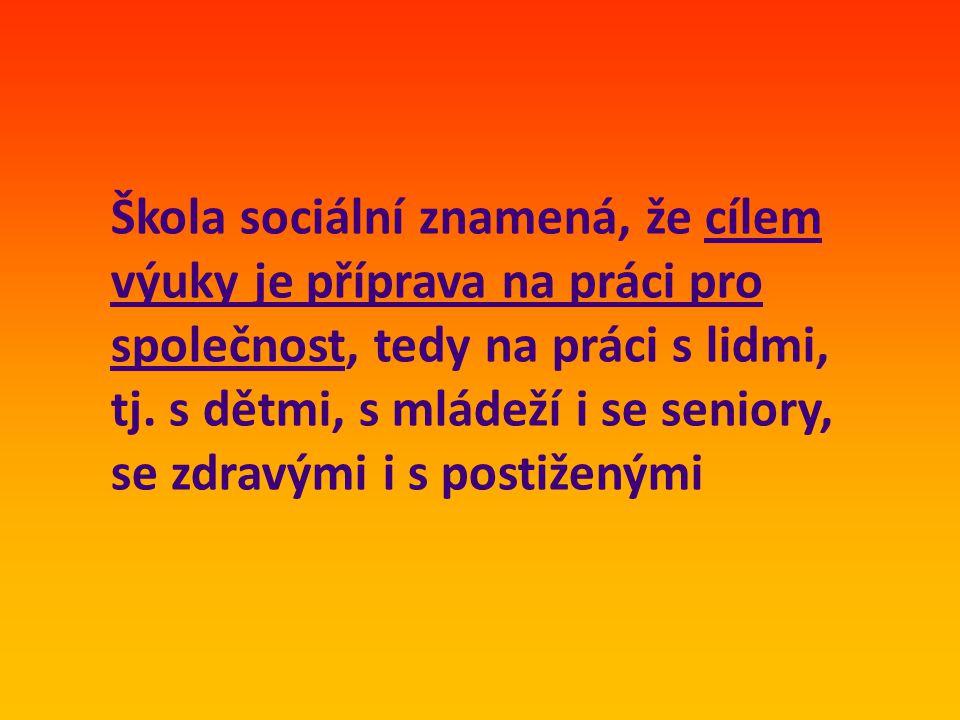 Škola sociální znamená, že cílem výuky je příprava na práci pro společnost, tedy na práci s lidmi, tj.