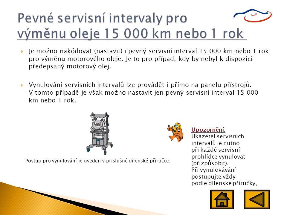 Pevné servisní intervaly pro výměnu oleje 15 000 km nebo 1 rok