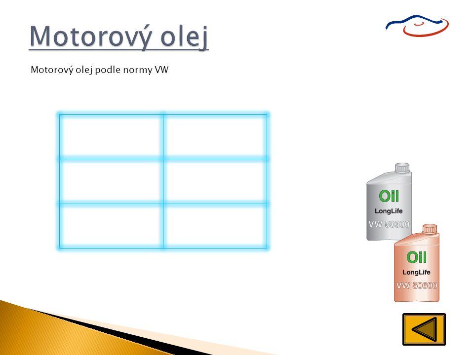 Motorový olej Norma pro olej Druh motoru VW 503 00 VW 506 00