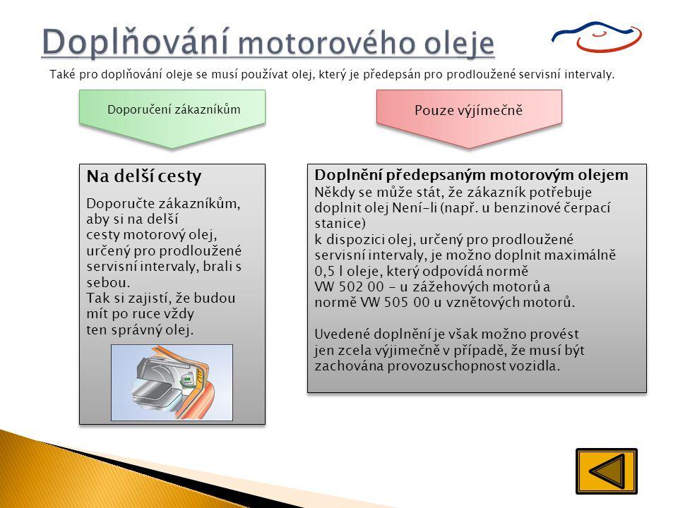 Doplňování motorového oleje