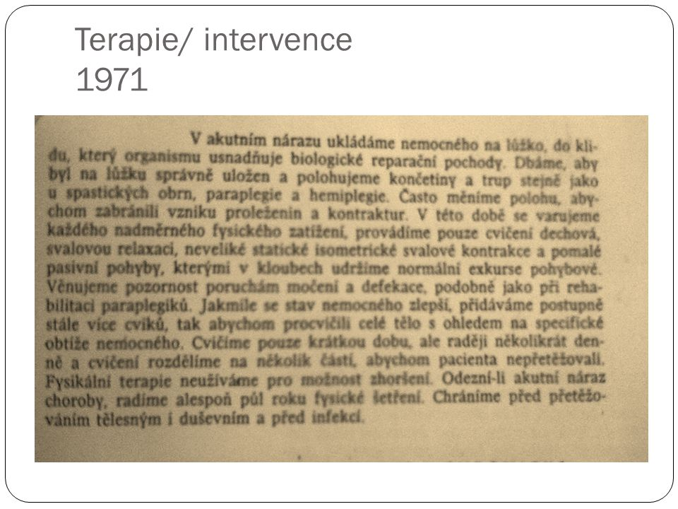 Terapie/ intervence 1971