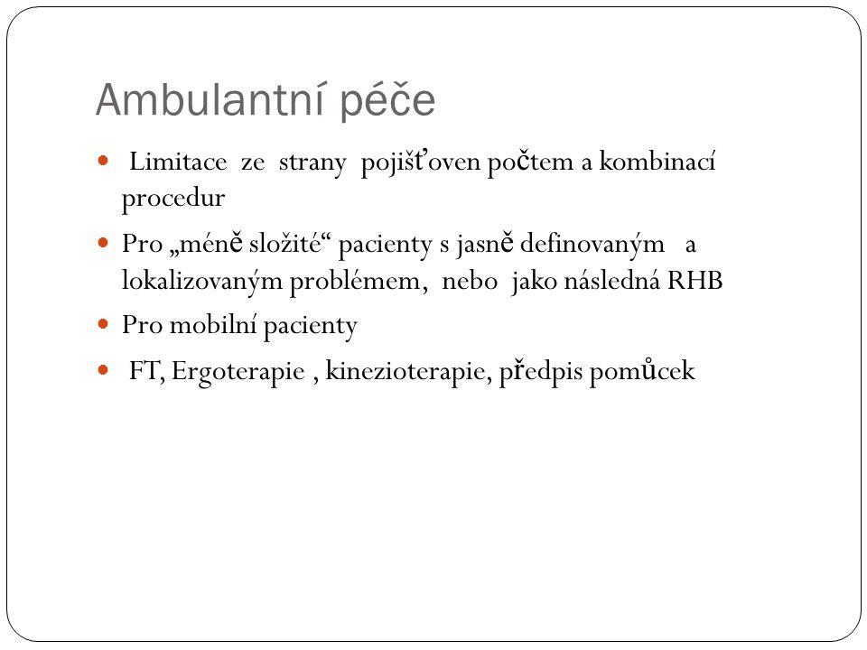Ambulantní péče Limitace ze strany pojišťoven počtem a kombinací procedur.
