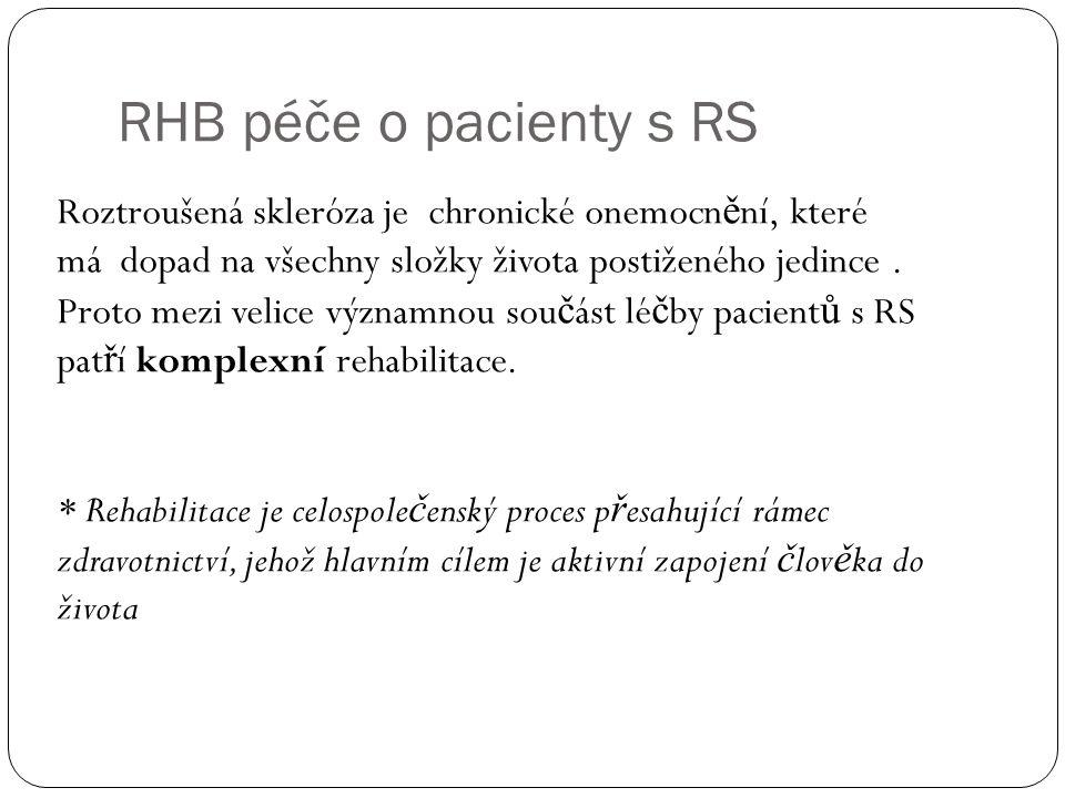 RHB péče o pacienty s RS Roztroušená skleróza je chronické onemocnění, které má dopad na všechny složky života postiženého jedince .