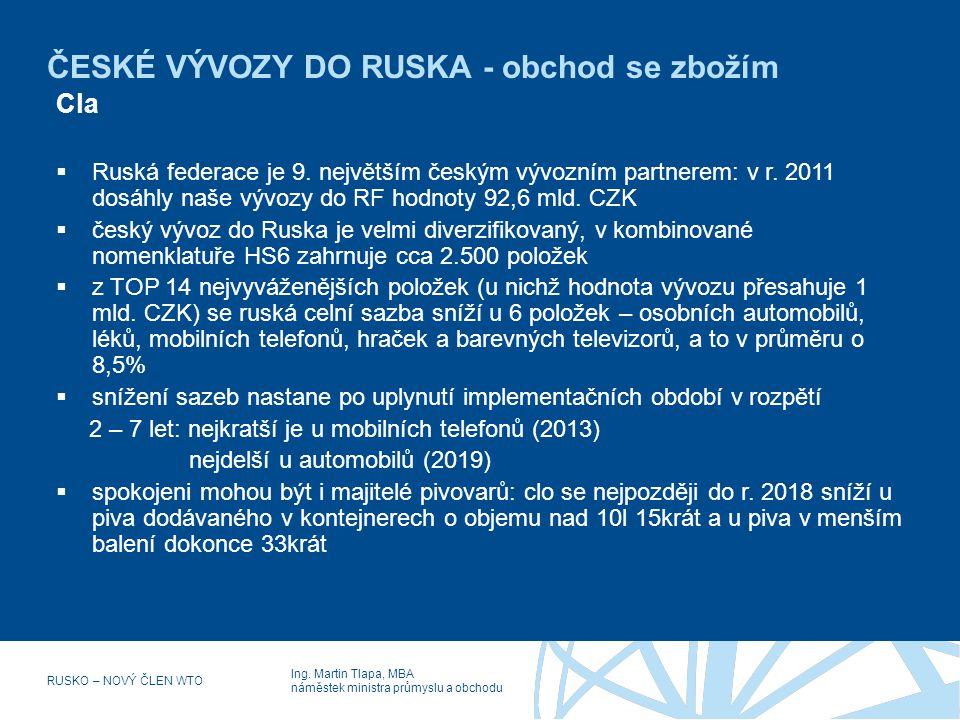 ČESKÉ VÝVOZY DO RUSKA - obchod se zbožím