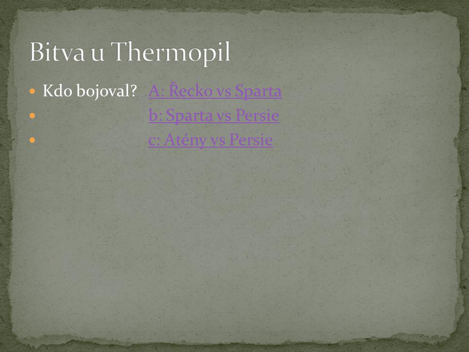 Bitva u Thermopil Kdo bojoval A: Řecko vs Sparta b: Sparta vs Persie