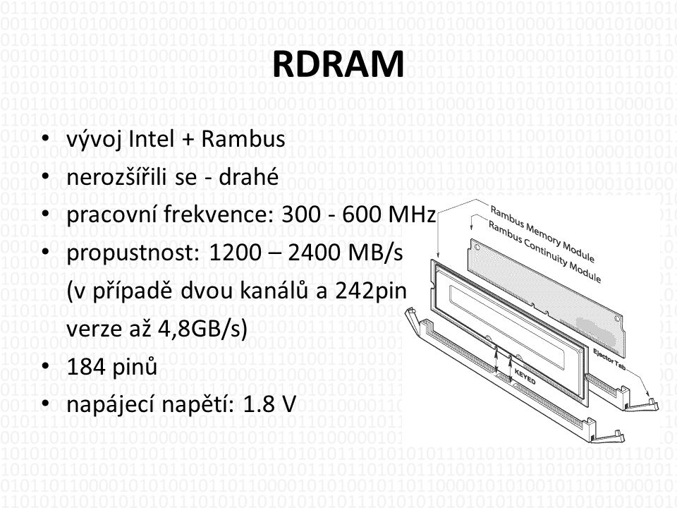 RDRAM vývoj Intel + Rambus nerozšířili se - drahé