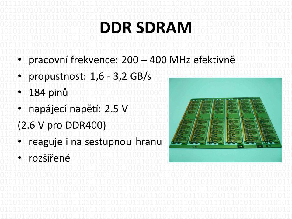 DDR SDRAM pracovní frekvence: 200 – 400 MHz efektivně