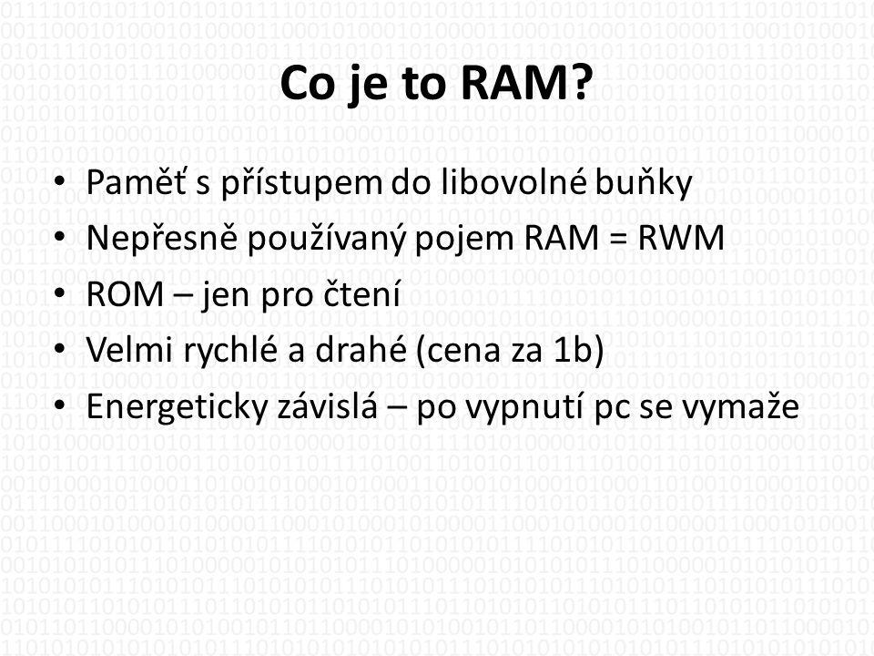 Co je to RAM Paměť s přístupem do libovolné buňky