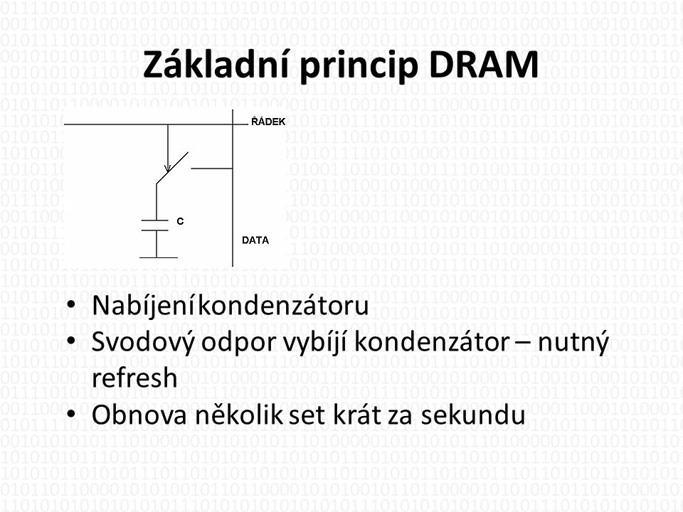 Základní princip DRAM Nabíjení kondenzátoru