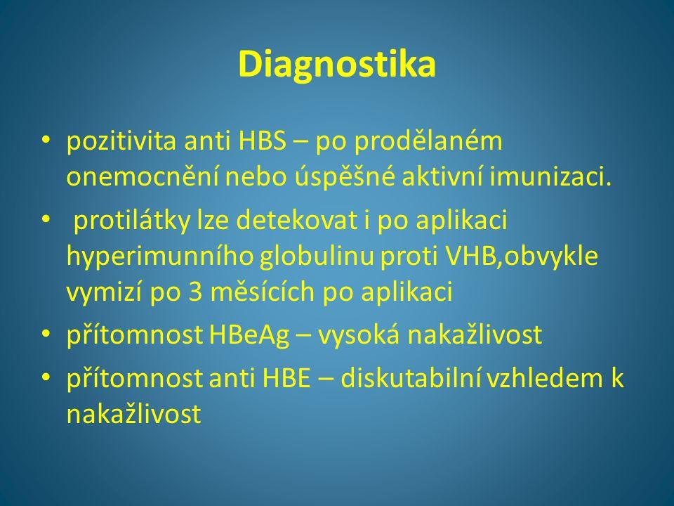 Diagnostika pozitivita anti HBS – po prodělaném onemocnění nebo úspěšné aktivní imunizaci.