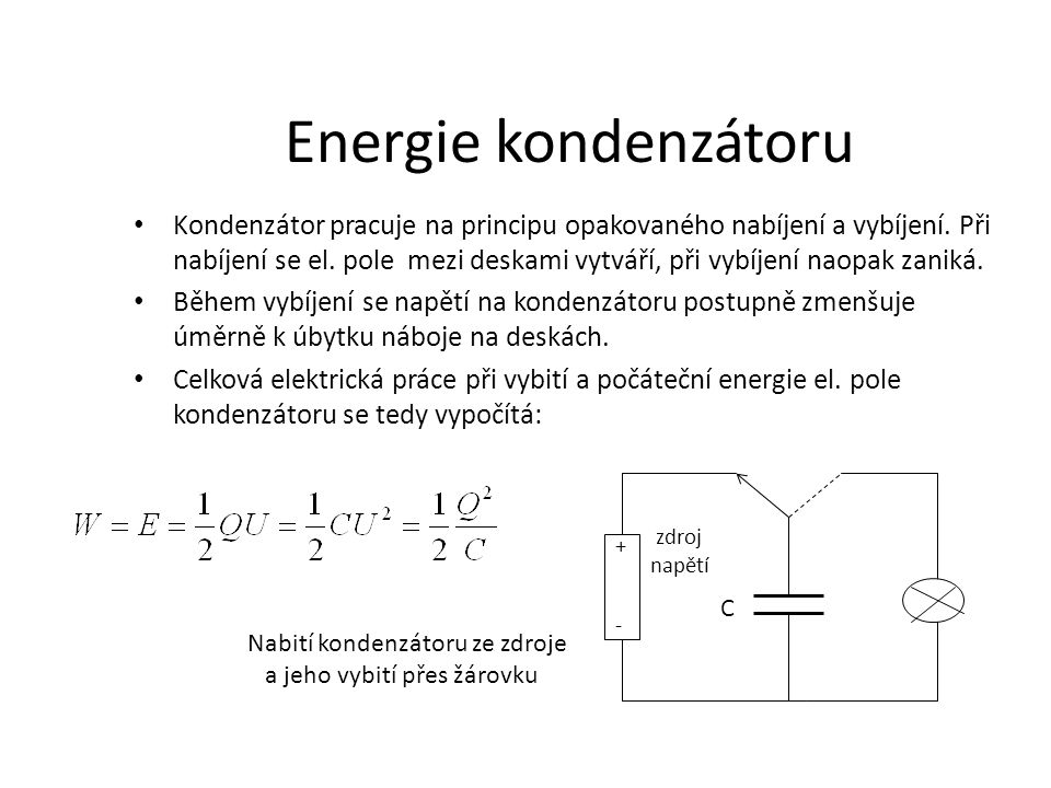 Energie kondenzátoru