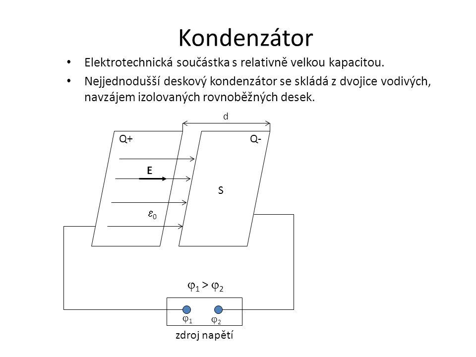 Kondenzátor Elektrotechnická součástka s relativně velkou kapacitou.