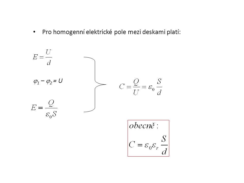 Pro homogenní elektrické pole mezi deskami platí: