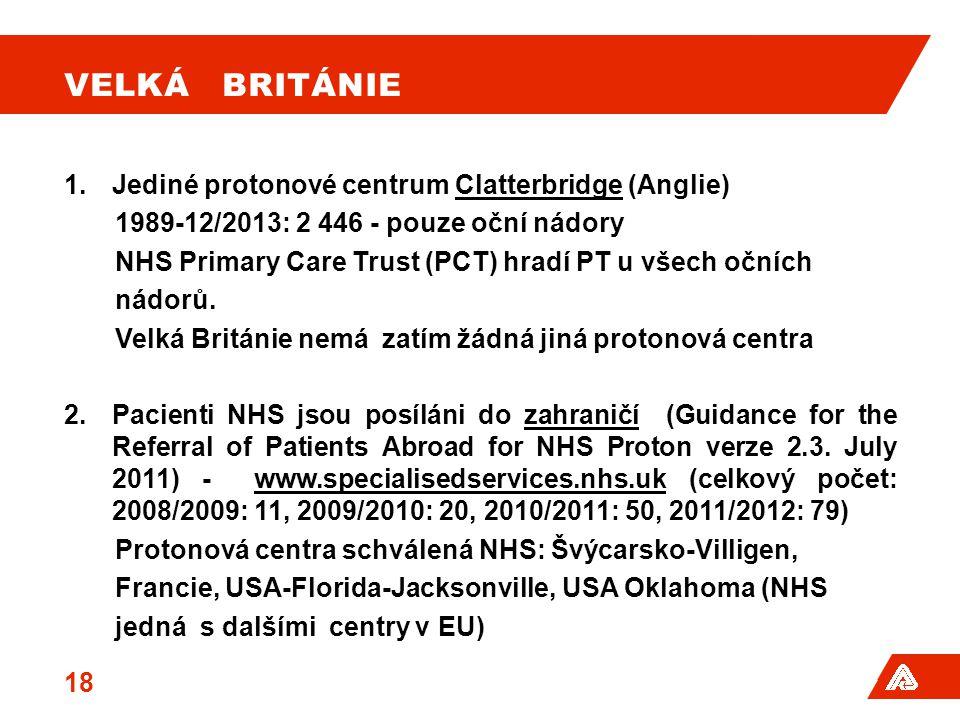 Velká Británie Jediné protonové centrum Clatterbridge (Anglie)
