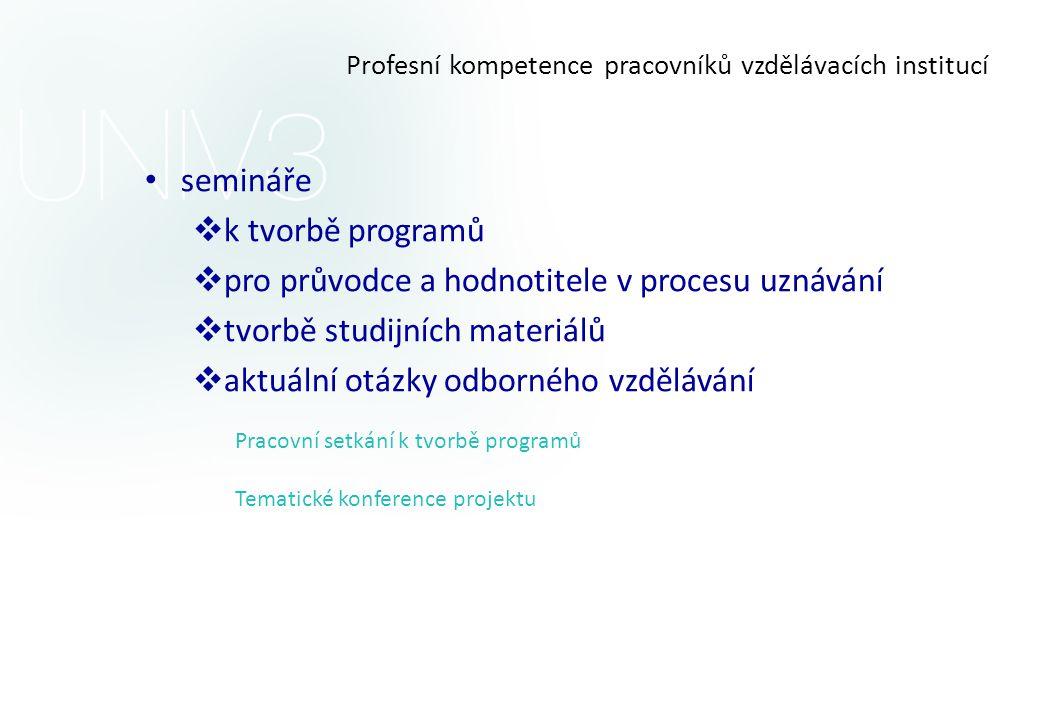 Profesní kompetence pracovníků vzdělávacích institucí