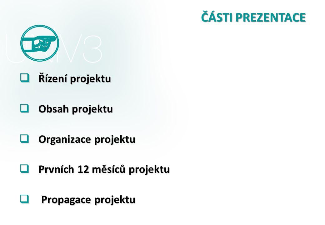 ČÁSTI PREZENTACE Řízení projektu Obsah projektu Organizace projektu