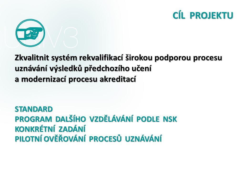 CÍL PROJEKTU Zkvalitnit systém rekvalifikací širokou podporou procesu