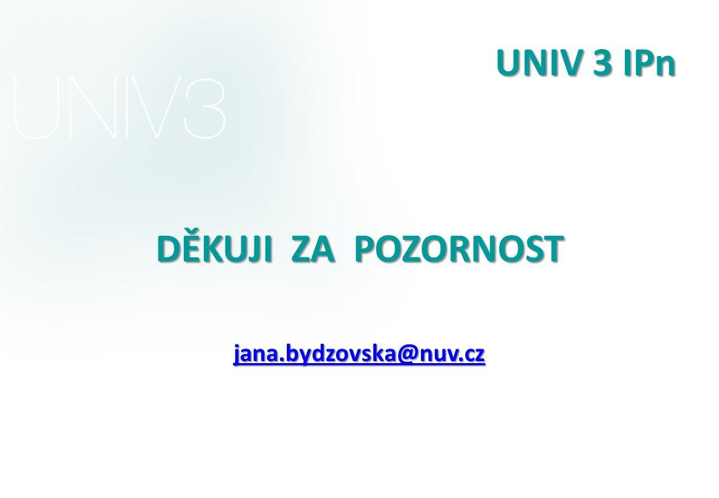 UNIV 3 IPn DĚKUJI ZA POZORNOST jana.bydzovska@nuv.cz