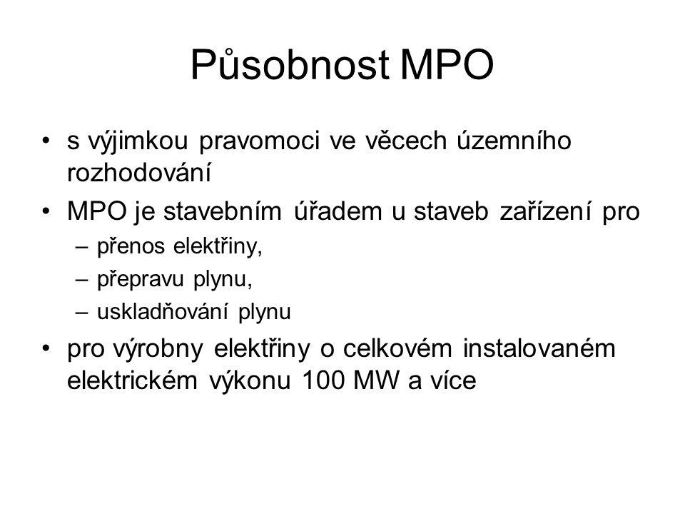 Působnost MPO s výjimkou pravomoci ve věcech územního rozhodování