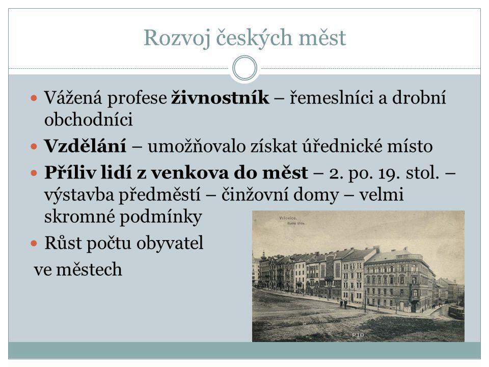Rozvoj českých měst Vážená profese živnostník – řemeslníci a drobní obchodníci. Vzdělání – umožňovalo získat úřednické místo.