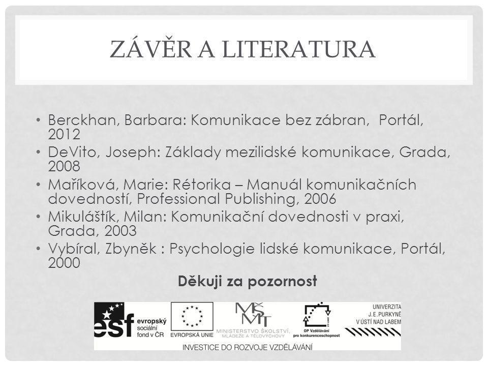 závěr a literatura Berckhan, Barbara: Komunikace bez zábran, Portál, 2012. DeVito, Joseph: Základy mezilidské komunikace, Grada, 2008.