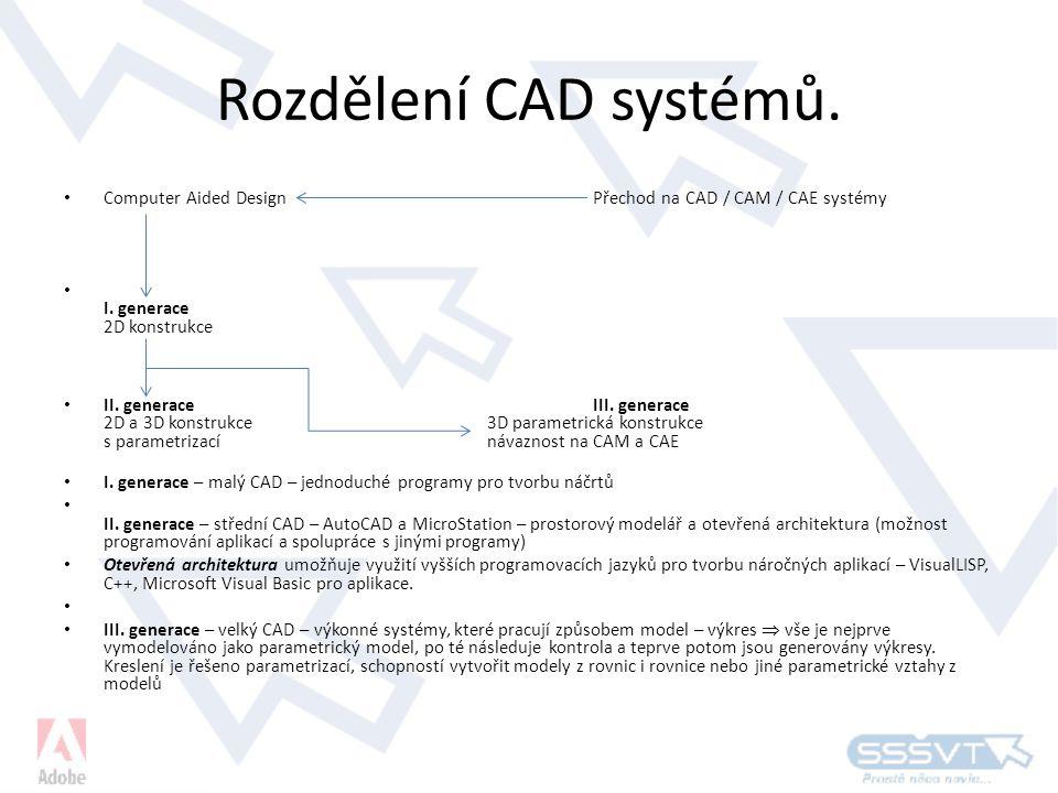 Rozdělení CAD systémů. Computer Aided Design Přechod na CAD / CAM / CAE systémy. I. generace 2D konstrukce.