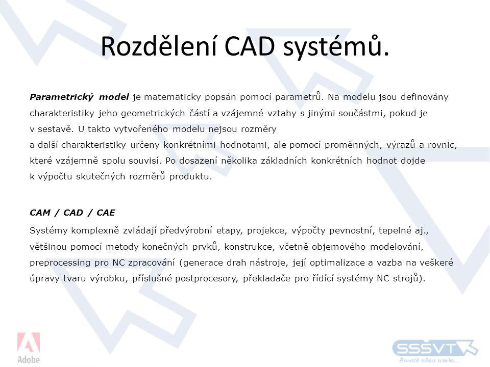 Rozdělení CAD systémů.