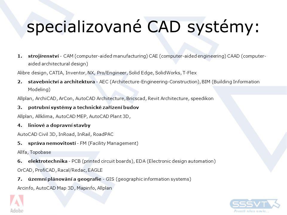 specializované CAD systémy: