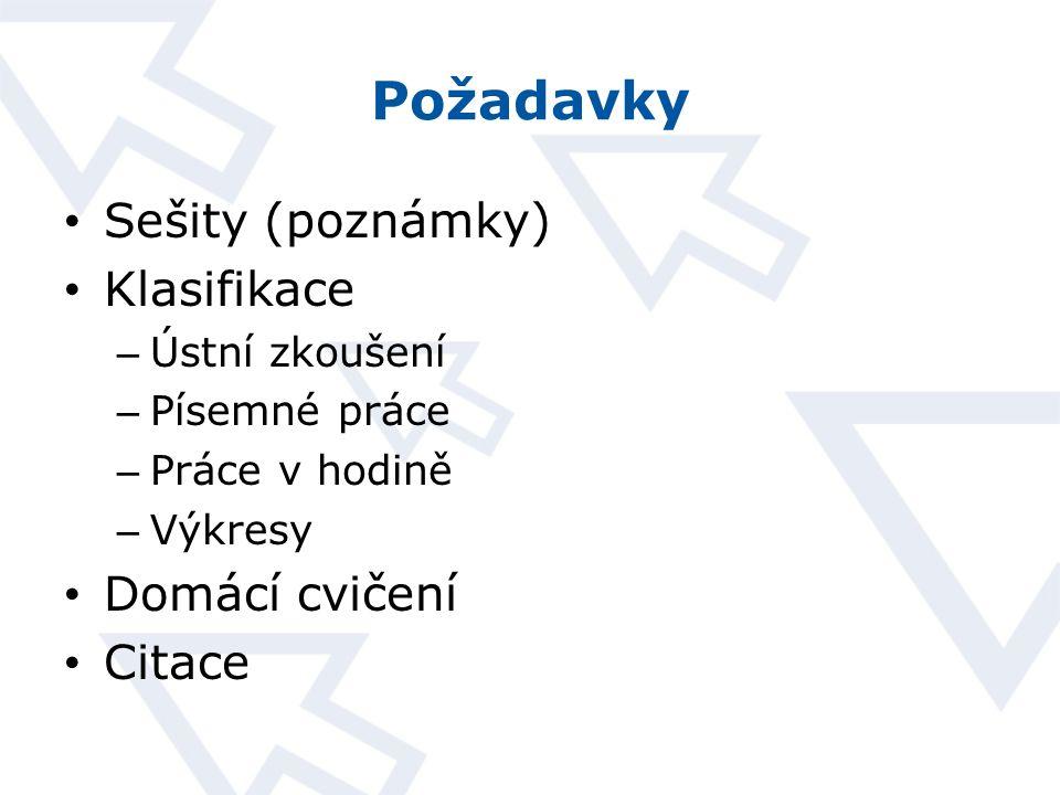 Požadavky Sešity (poznámky) Klasifikace Domácí cvičení Citace