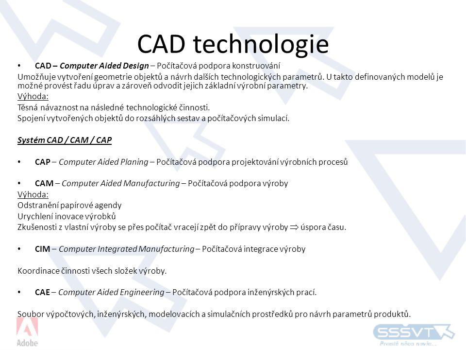 CAD technologie CAD – Computer Aided Design – Počítačová podpora konstruování