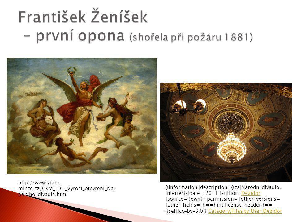 František Ženíšek – první opona (shořela při požáru 1881)
