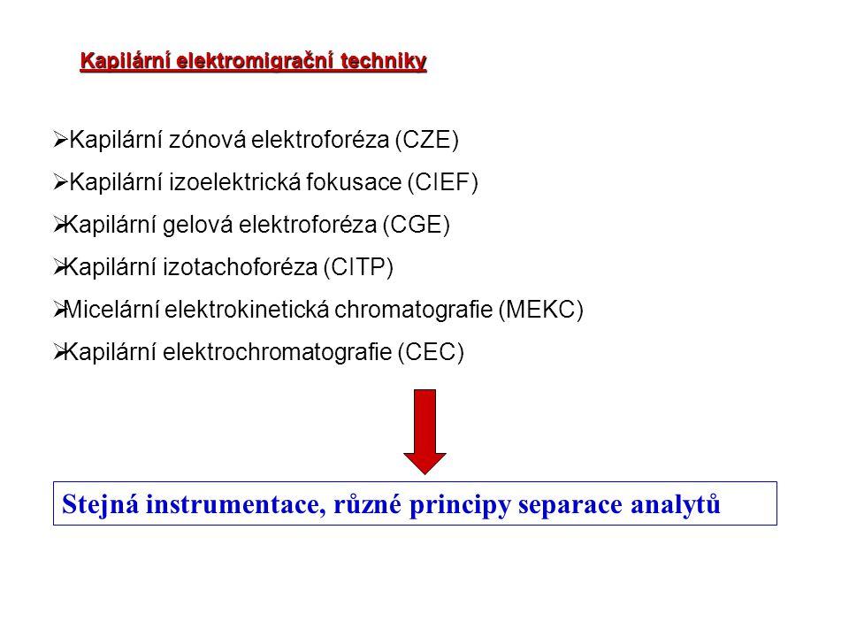 Stejná instrumentace, různé principy separace analytů