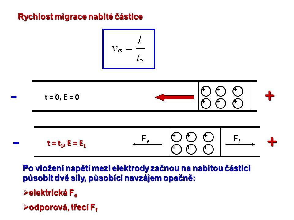 - + - + Rychlost migrace nabité částice t = 0, E = 0 Fe Ff