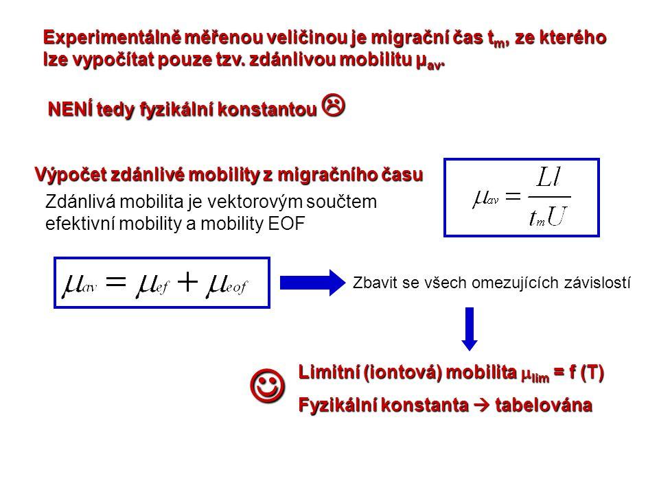 Experimentálně měřenou veličinou je migrační čas tm, ze kterého lze vypočítat pouze tzv. zdánlivou mobilitu μav.