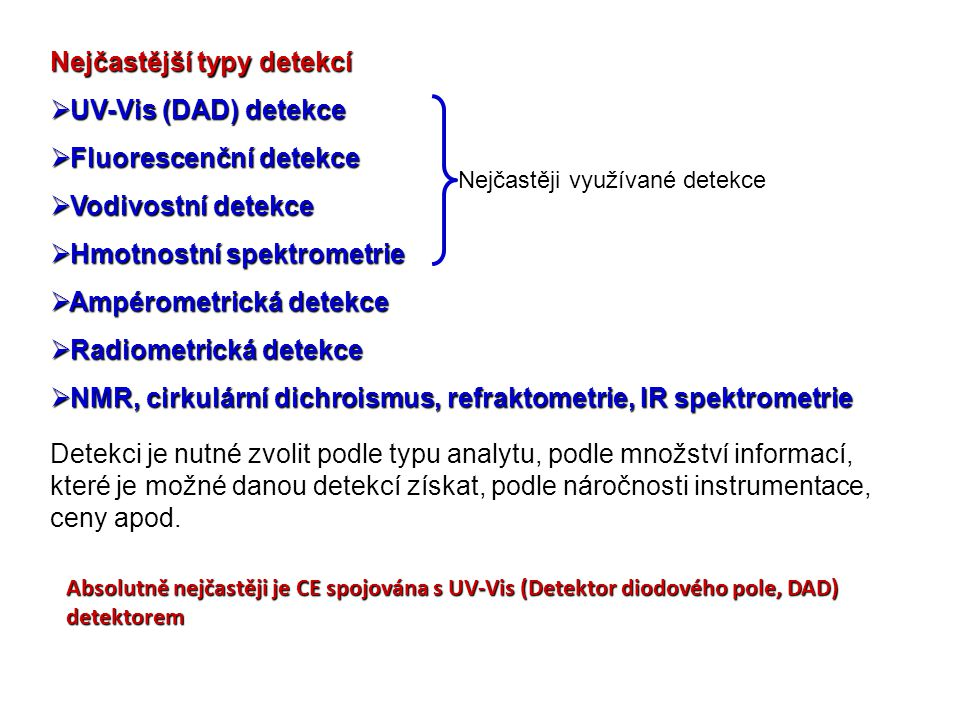 Nejčastější typy detekcí UV-Vis (DAD) detekce Fluorescenční detekce