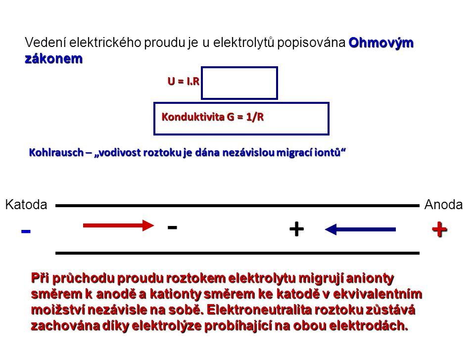 Vedení elektrického proudu je u elektrolytů popisována Ohmovým zákonem