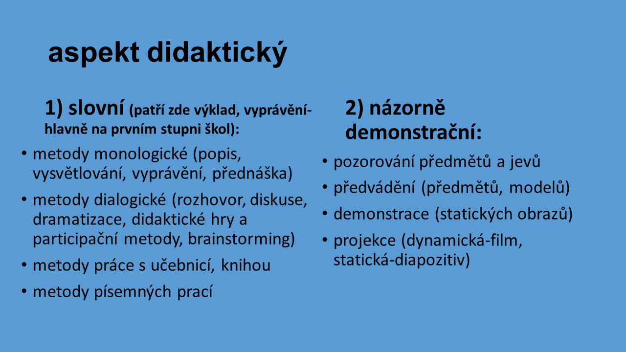 aspekt didaktický 1) slovní (patří zde výklad, vyprávění- hlavně na prvním stupni škol):