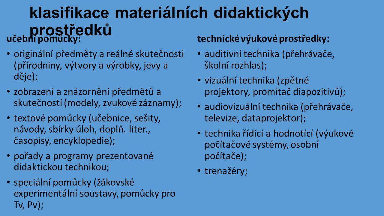 klasifikace materiálních didaktických prostředků