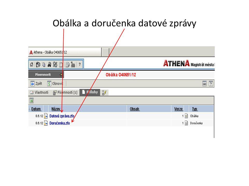 Obálka a doručenka datové zprávy