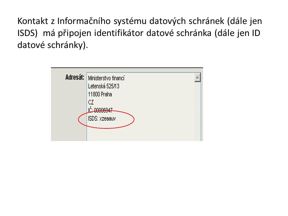 Kontakt z Informačního systému datových schránek (dále jen ISDS) má připojen identifikátor datové schránka (dále jen ID datové schránky).