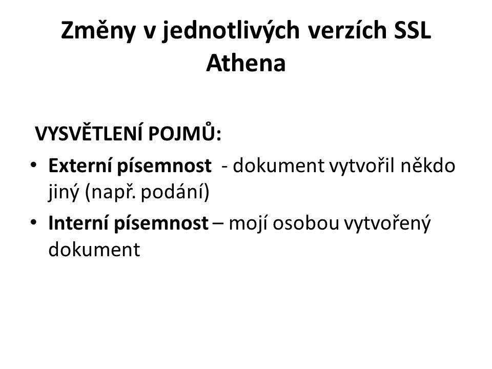 Změny v jednotlivých verzích SSL Athena