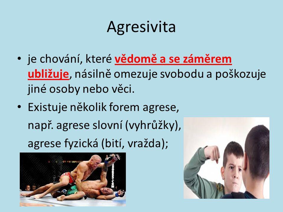 Agresivita je chování, které vědomě a se záměrem ubližuje, násilně omezuje svobodu a poškozuje jiné osoby nebo věci.