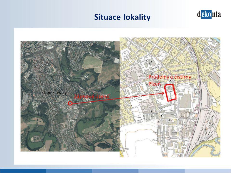 Situace lokality Prádelny a čistírny Plzeň Plzeň Slovany Zájmové území