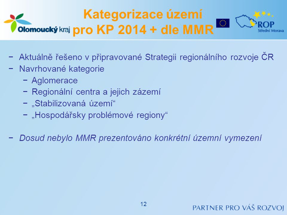 Kategorizace území pro KP 2014 + dle MMR
