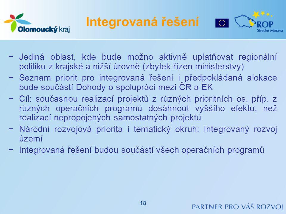 Integrovaná řešení Jediná oblast, kde bude možno aktivně uplatňovat regionální politiku z krajské a nižší úrovně (zbytek řízen ministerstvy)